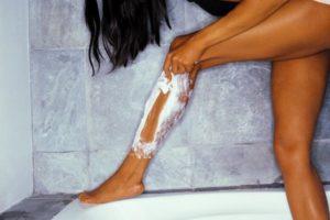 safety razor  woman shaving leg